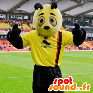 Maskot žlutá a černá panda - žlutá hmyz maskot