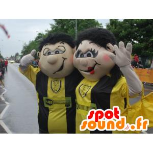 Mascot man en vrouw, paar fans