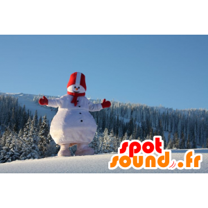 Mascot stor snømann, hvitt og rødt