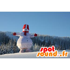 Mascotte de gros bonhomme de neige, blanc et rouge