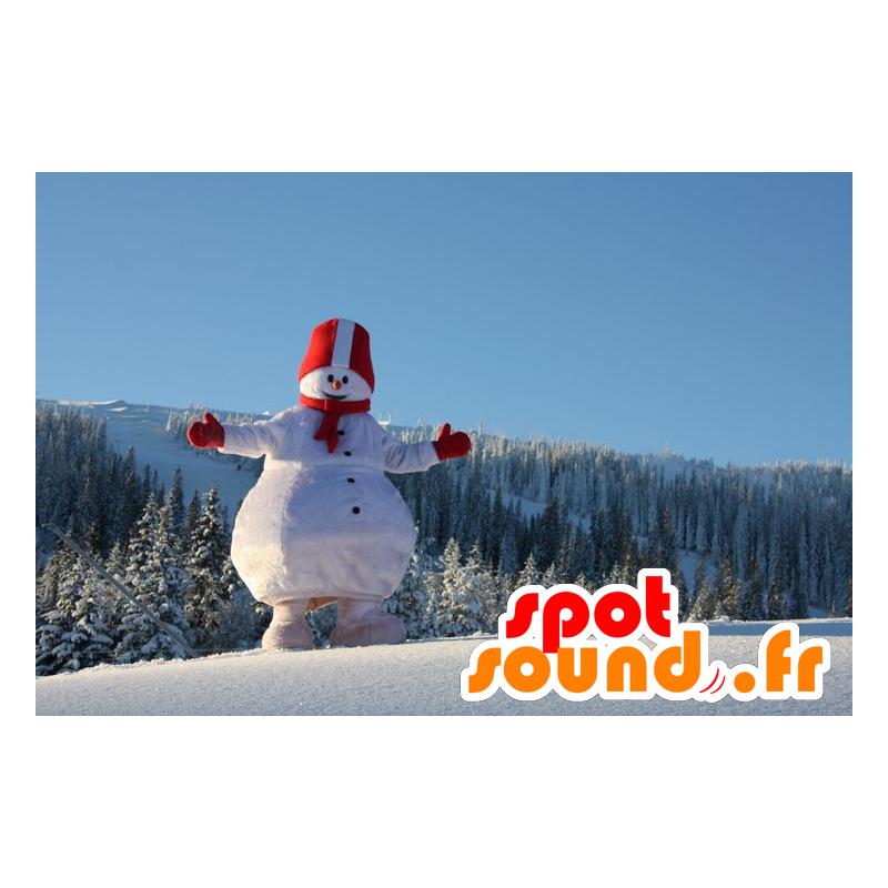 Mascot grote sneeuwpop, wit en rood - MASFR21768 - Kerstmis Mascottes