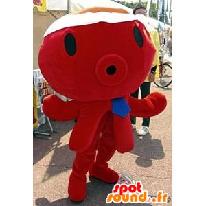 Mascot polvo vermelho, gigante, com uma gravata azul