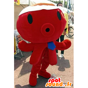 Mascotte de pieuvre rouge, géante, avec une cravate bleue