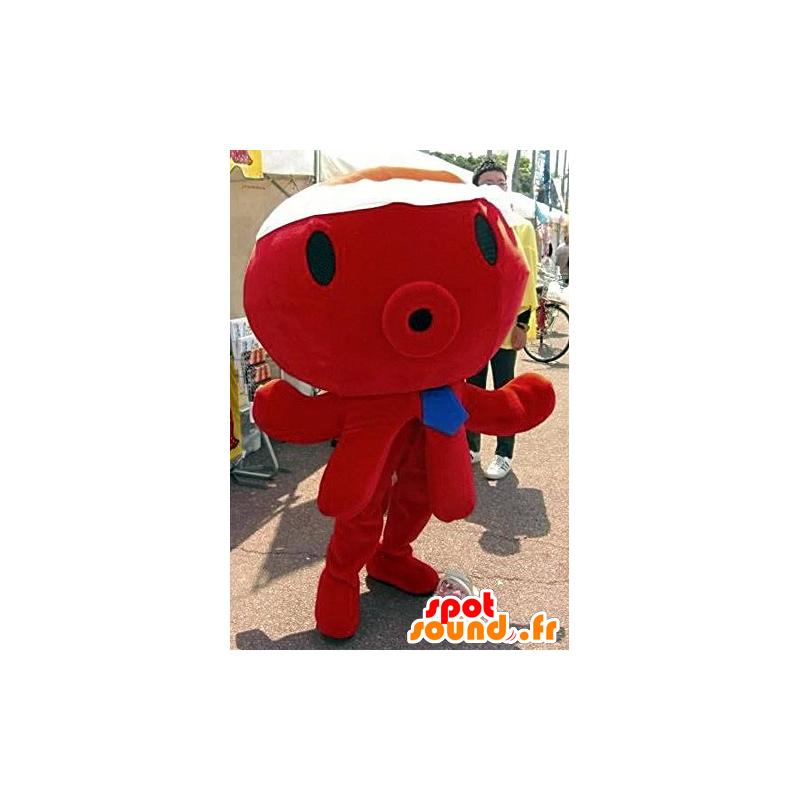 Mascotte de pieuvre rouge, géante, avec une cravate bleue - MASFR21769 - Mascottes de l'océan