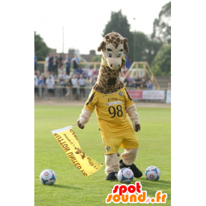 Mascot giraf, geel sportkleding