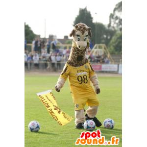 Maskot žirafa, žlutý sportovní oblečení