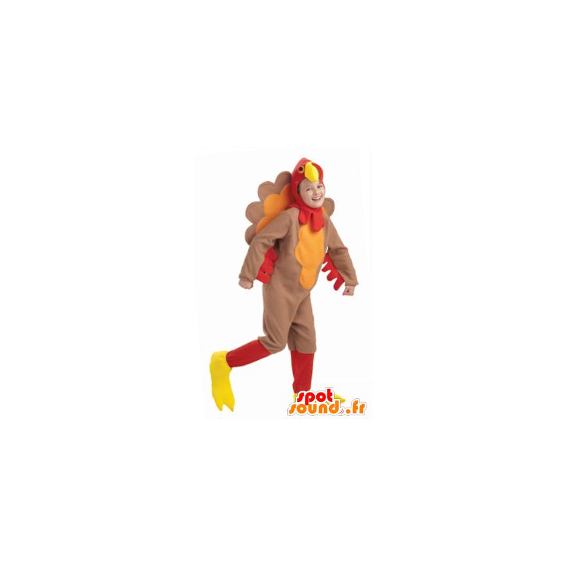 Bruin kalkoen mascotte, rood en geel - MASFR21782 - Mascot Hens - Hanen - Kippen
