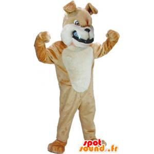 Brun og hvid hundemaskot, der ser hård ud - Spotsound maskot