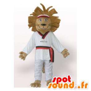 Brown lion mascot in white kimono - MASFR21788 - Lion mascots