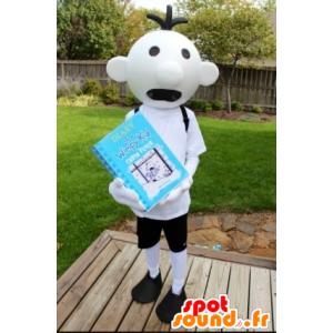 White Snowman Mascot, schoolboy, Child - MASFR21793 - Mascots child