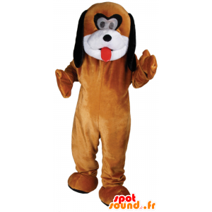Brown dog mascot, customizable white and black - MASFR21797 - Dog mascots
