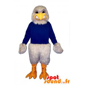 Eagle maskot, grå grib klædt i blå - Spotsound maskot kostume