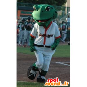 Grüner Frosch-Maskottchen weißen Baseball-Outfit - MASFR21803 - Maskottchen-Frosch