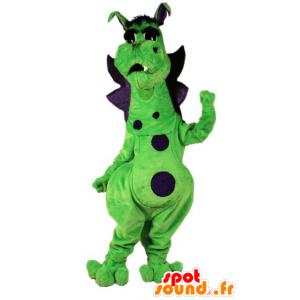 Green and purple dragon mascot, cute and colorful - MASFR21805 - Dragon mascot