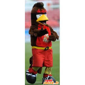 Mascot bruine vogel, geel en rood - MASFR21807 - Mascot vogels