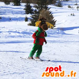 Mascotte de renne marron, avec des bois jaunes