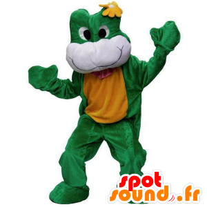 Green frog mascot, white and yellow - MASFR21820 - Mascots frog