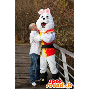 Vit kaninmaskot i piratdräkt - Spotsound maskot