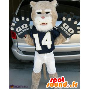 mascotte de tigre beige et blanc, en tenue de sport - MASFR21836 - Mascottes Tigre
