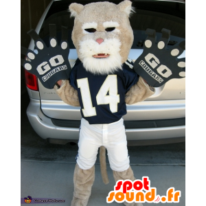 Maskottchen beige und weißer Tiger in der Sportkleidung - MASFR21836 - Tiger Maskottchen
