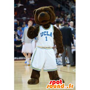 Ruskea nalle maskotti, valkoinen urheiluvaatteet - MASFR21840 - Bear Mascot
