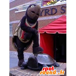 Mascotte de tortue marron et noire, géante