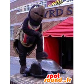 Mascot bruin en zwart schildpad, reus - MASFR21845 - Turtle Mascottes