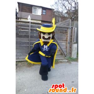 Mascot blauw en geel Musketeer - MASFR21846 - mascottes Soldiers