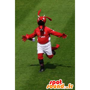 Maskottchen roten Drachen in der Sportkleidung - MASFR21850 - Dragon-Maskottchen