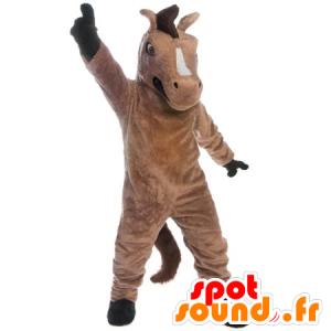 Maskotti ruskea ja musta hevonen, jättiläinen ja menestyksekäs