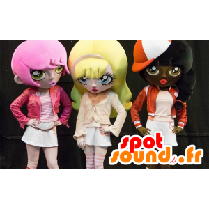 3 mascots cartoon girls, colored hair