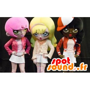 3 mascottes de filles de dessin animé, aux cheveux colorés