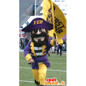 伝統的な黄色と紫の衣装で海賊のマスコット、
