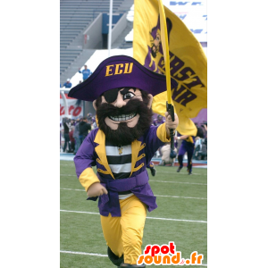 Pirate Mascot, in traditional yellow and purple outfit - MASFR21863 - Mascottes de Pirate