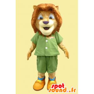 Little lion mascot, lion cub green outfit - MASFR21873 - Lion mascots