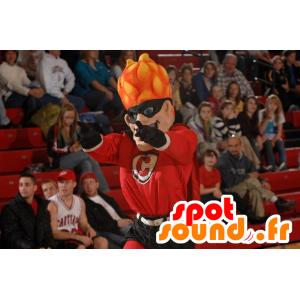 Superhero mascot with burning hair - MASFR21876 - Superhero mascot