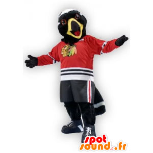 Eagle maskot, svartvitt fågel, i sportkläder - Spotsound maskot