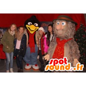 2 Maskottchen, ein Pinguin und eine braune haarige yeti alle - MASFR21881 - Pinguin-Maskottchen