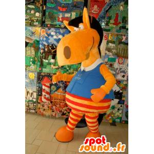 Cavallo mascotte arancione, rosso e nero, divertente e colorato