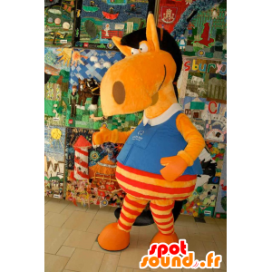 Mascote do cavalo laranja, vermelho e preto, engraçado e colorido