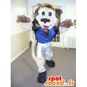 Leone mascotte beige e marrone, con una criniera pelosa - MASFR21892 - Mascotte Leone