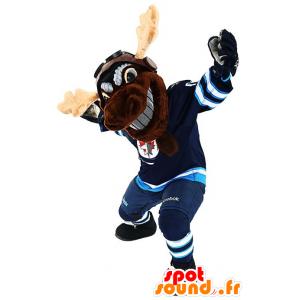 Caribou mascota de los alces marrón, reno, en ropa deportiva