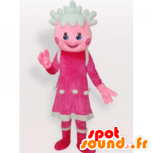 Girl mascot, pink and white doll