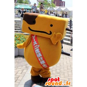 Oranje mens mascotte en bruin, vrolijk - MASFR21900 - Niet-ingedeelde Mascottes