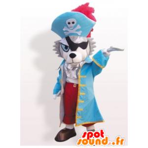Cão lobo mascote no traje do pirata