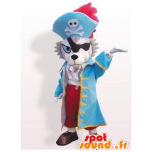 Mascotte de chien, de loup, en costume de pirate