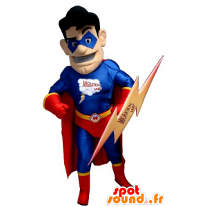 Superhero Maskottchen hält Rot und Blau, mit einem Flash-