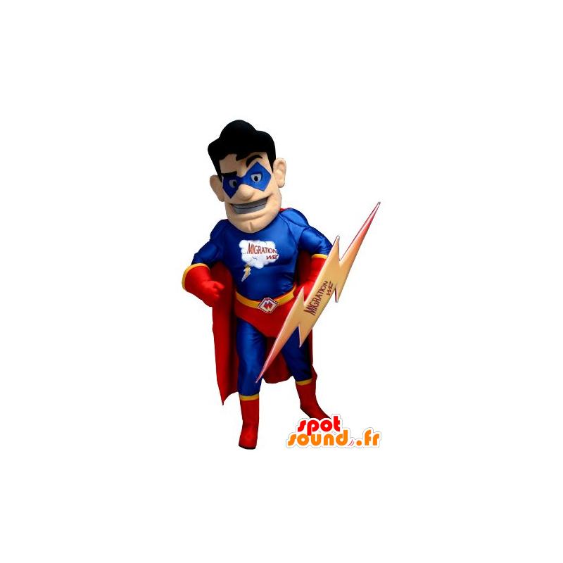Superheld mascotte houdt rood en blauw, met een flits - MASFR21910 - superheld mascotte