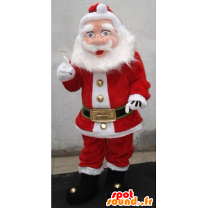 Santa Claus mascot, dressed in red and white