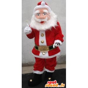 Santa mascote vestido de vermelho e branco